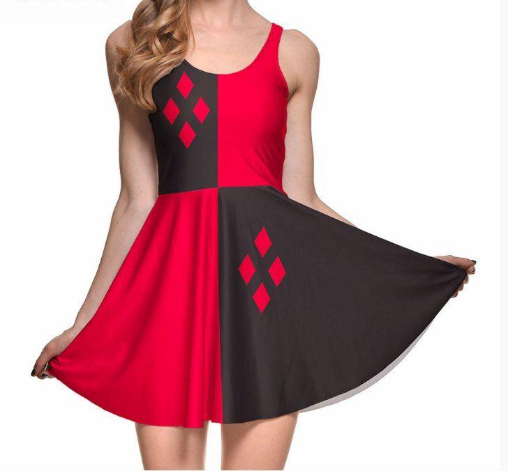 Super Hot Harley Quinn Skater Dress Gender: Women Waistline: Natural Decoration…