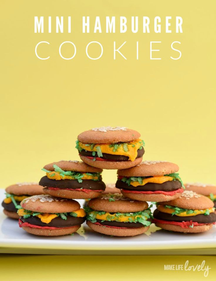 No-Bake Mini Hamburger Cookies - http://www.sofabfood.com/no-bake-mini-hamburger-cookies/  These adorableNo-Bake Mini Hamburger Cookies are super simple to assemble with store-bought items and they're absolutely perfect for summer parties and backyard barbecues! #StaterSnacks  Mini Hamburger Cookies: The Perfect Summertime Treat Nothing says summer quite like hamburgers and ...