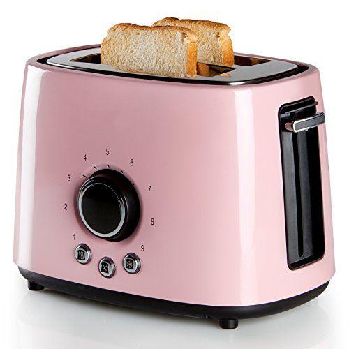 rosa edelstahl retro toaster fr zwei toast scheiben 1000watt cool touch - Kuche In Pink