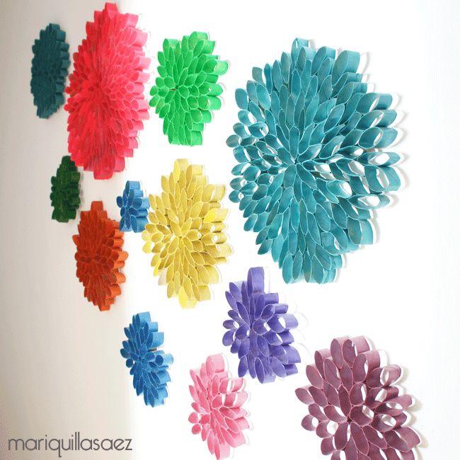M s de 1000 ideas sobre flores de papel higi nico en - Manualidades con rollos de papel higienico navidenos ...