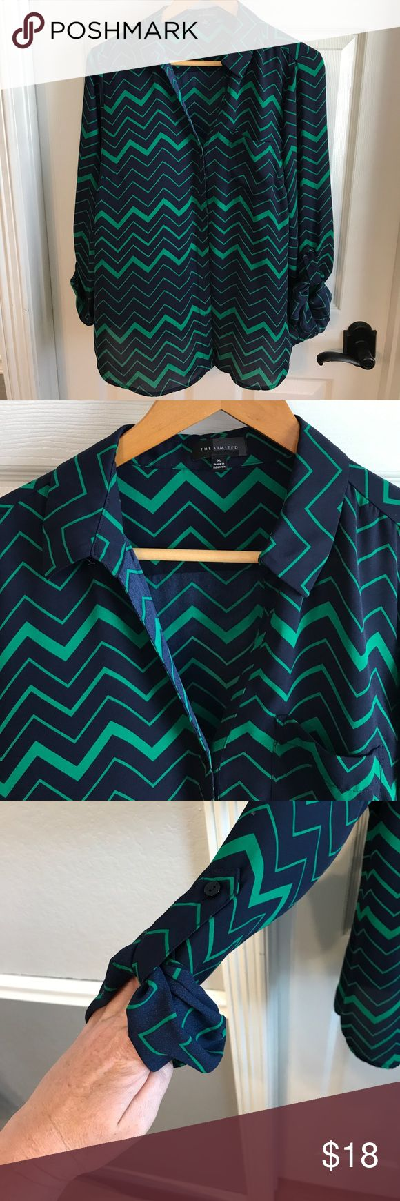 Gorgeous chevron blouse Very gently used condition. No imperfections. Sleeves can be worn rolled up or down. Material is 100% polyester. Light and flowy but not sheer. The Limited Tops Blouses