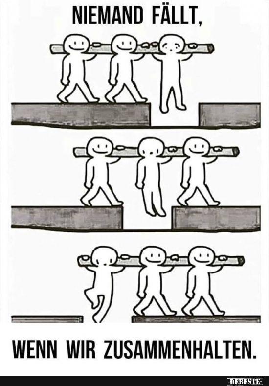 Niemand fällt, wenn wir zusammenhalten.   Lustige Bilder, Sprüche, Witze, echt lustig