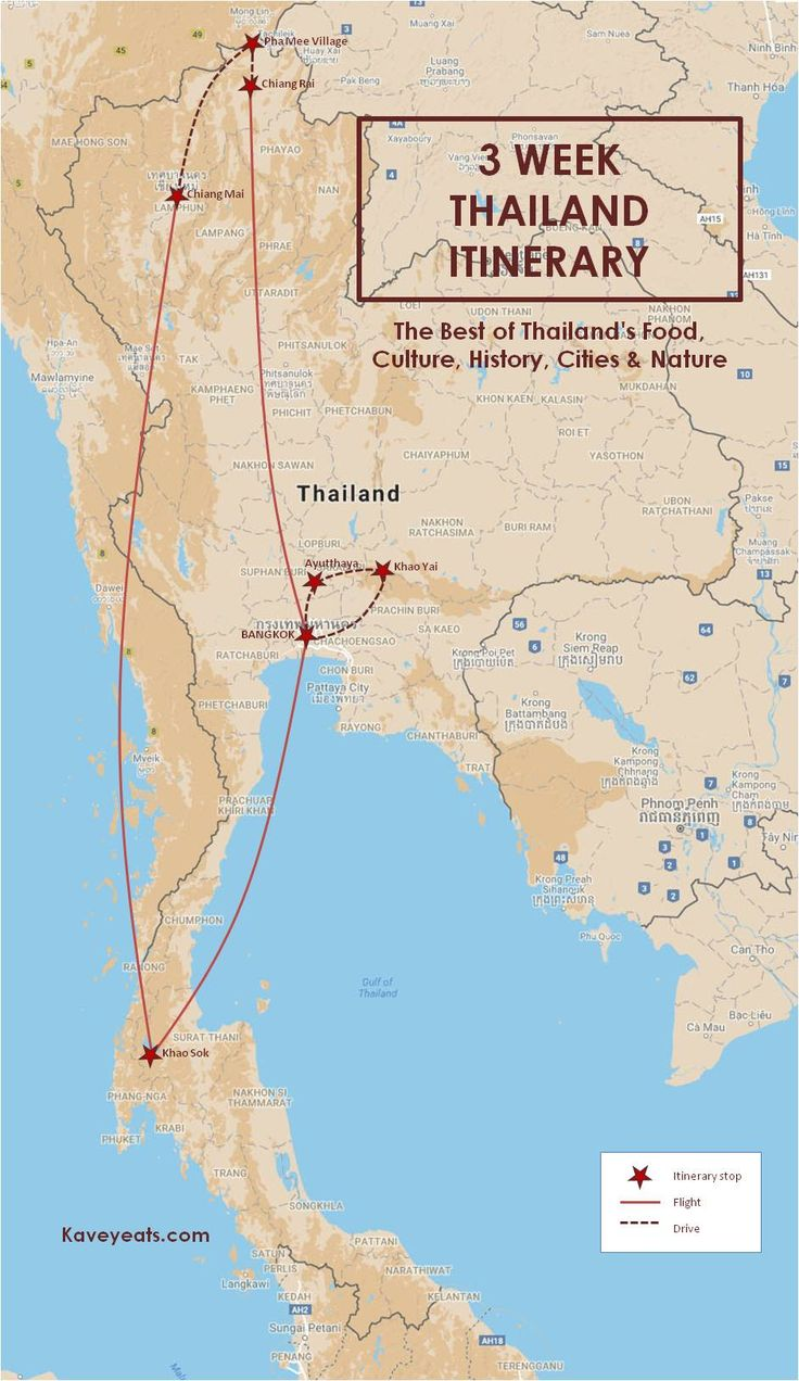 A Comprehensive 3 Week Thailand Itinerary focusing on the best of Thai Food, Culture, History, Cities and Nature. (Map of Itinerary)