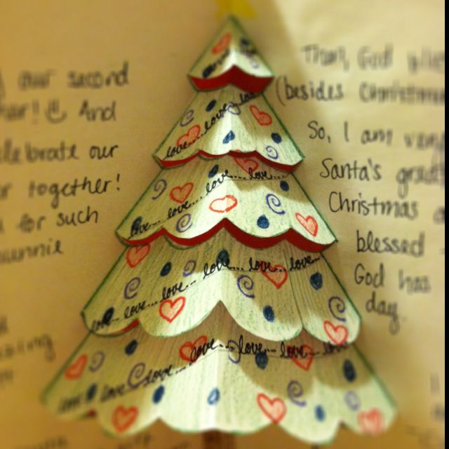 Made this 3D Christmas card for my boyfriend, Noree :)   http://www.wikihow.com/Make-a-Christmas-Tree-Pop-up-Card-(Robert-Sabuda-Method)