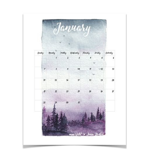 Free January 2018 printable Happy New Year! I hope you like the layout of this month's calendar. If you follow me on Instagram (@tangledpen ) you might have seen this painting. The original is rather small, but I scanned it in very high resolution to use if for January's calendar. Please let me know if you like it or prefer more white space within the calendar. Find the printable here: January 2018 printable
