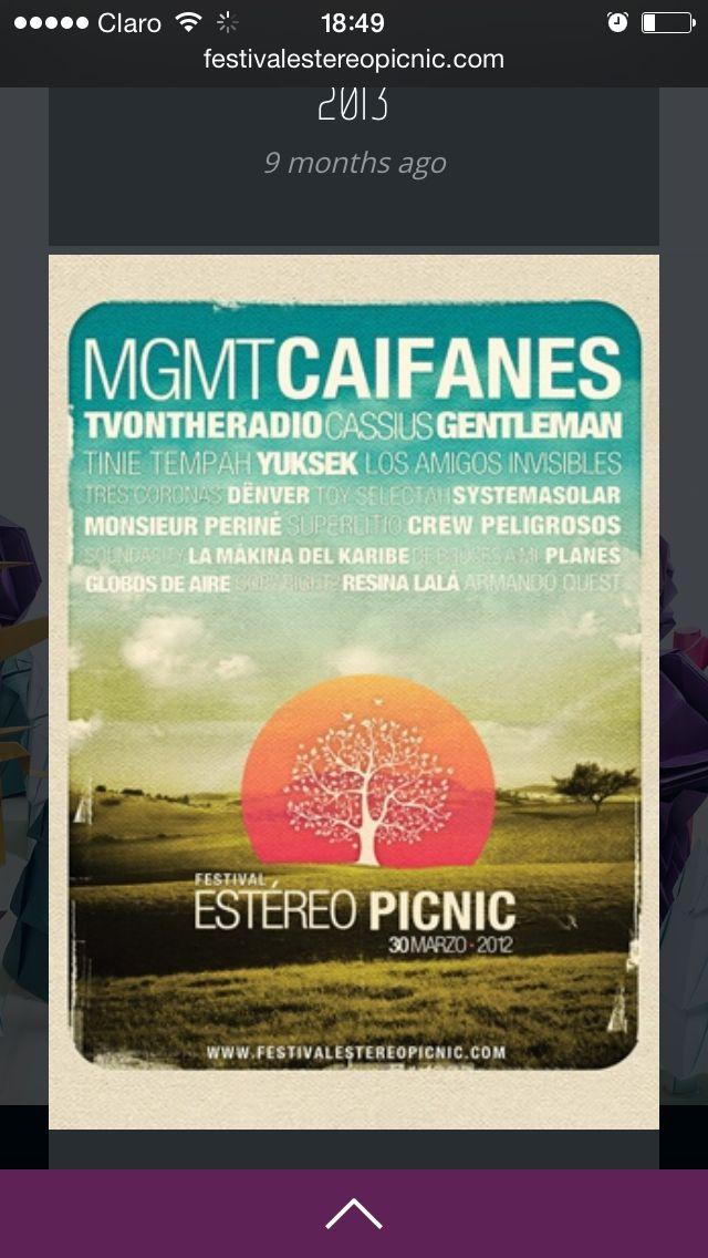 festival stereo picnic  Son 5 ediciones de este festival.