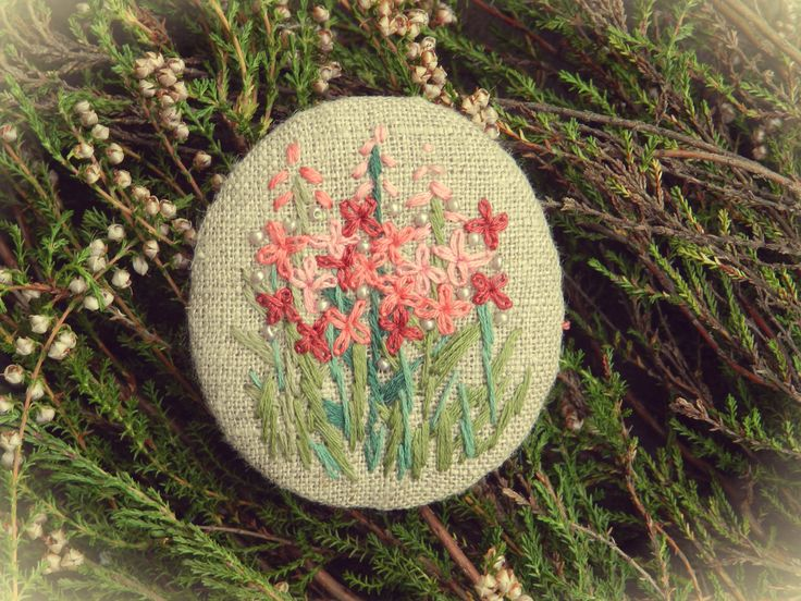 "linen with embroidery brooch Брошь льняная ""Иван-чай"""