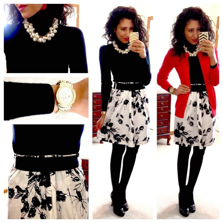 A flowy floral skirt worn with warm winter layers. Wear black tights with black heels for super long legs. also the black belt over the skirt visually extends her waist/torso