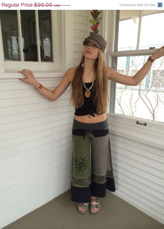 Spring Sale Cropped gaucho Eco PANTS SizeXS/Spatchwork by zasra, $76.50