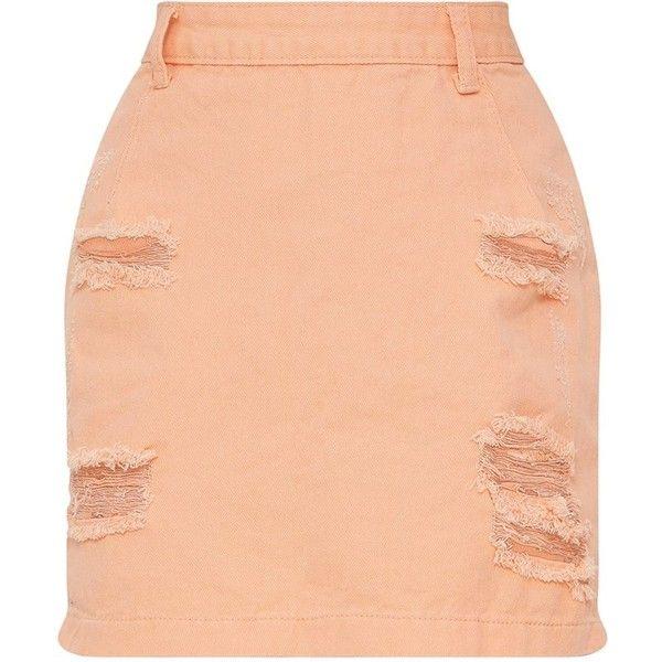 Peach Super Distress High Waisted Denim Mini Skirt ($35) ❤ liked on Polyvore featuring skirts, mini skirts, red short skirt, red mini skirt, high waisted denim mini skirt, high waist skirt and short mini skirts