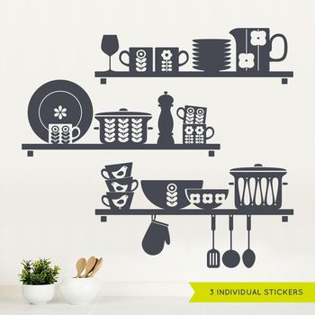 Great Nordic Kitchen Shelves Wall Sticker