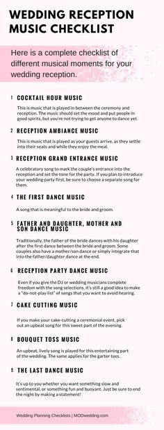 Wedding Reception Music Checklist: here is a complete checklist of different musical moments for your wedding reception.