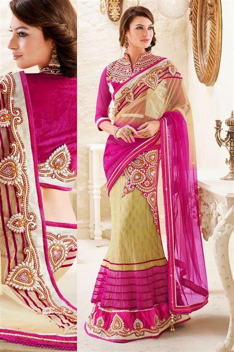 Net, Georgette Purple, Cream Designer Party Wear Lehenga Saree