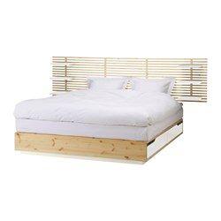 MANDAL Structure lit avec tête de lit, bouleau, blanc - bouleau/blanc - 160x202 cm - IKEA