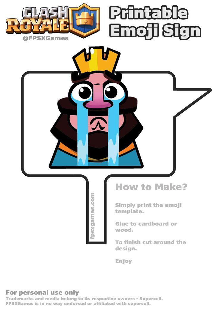 Printable Clash Royale crying emoji sign
