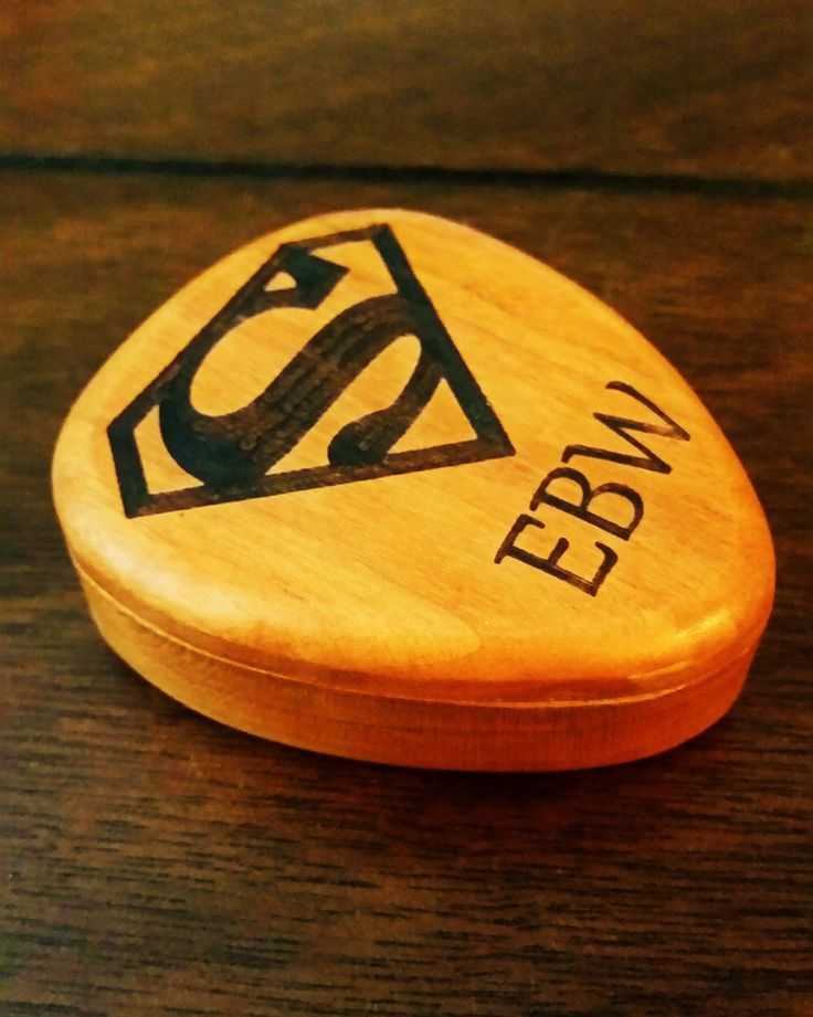 Personalized Superman Guitar Pick Box and Pick Custom Guitar Pick Case Super man Wood Box Ring Boxgift for himSuperman Guitar Accessory