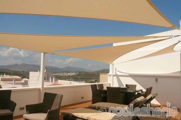 Triangle Shade Sails in Spain, natural