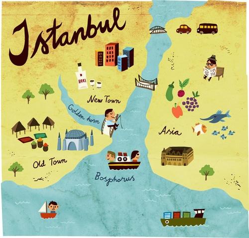 Istanbul map - Turkey by  Mikko Walamies