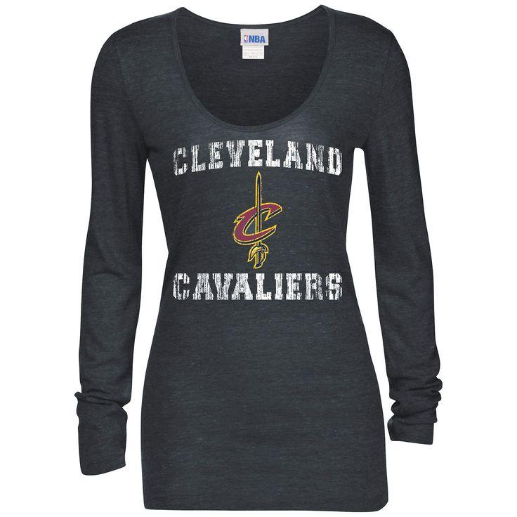 Women's Cleveland Cavaliers 5th & Ocean by New Era Navy Blue Glitter Logo Tri-Blend Long Sleeve T-Shirt
