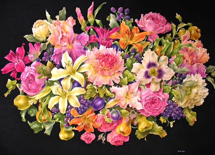 """Bountiful Summer"" Watercolour and acrylic by Caren Heine"
