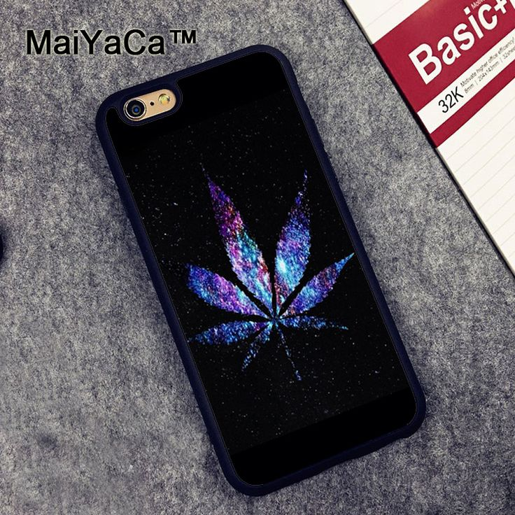 MaiYaCa Purple Blue Weed Leaf Case for Apple iPhone 6S 6 //Price: $10.34 & FREE Shipping // #cannabisjewelry