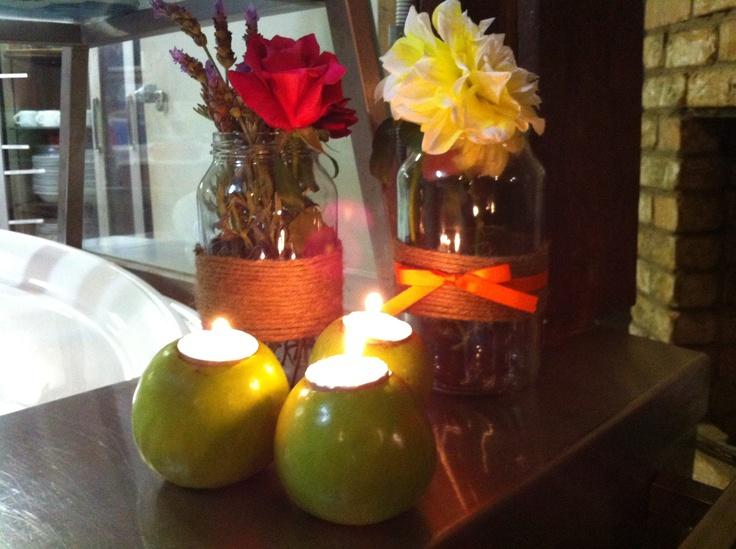 apple candles and mason jars