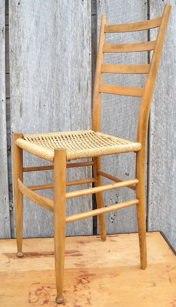 Antique Ladderback Chair Gio Ponti Style By MomsantiquesNthings, $129.20