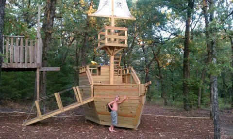 Wooden pirate ship playhouse inspiring ideas pinterest for Boat playhouse plans