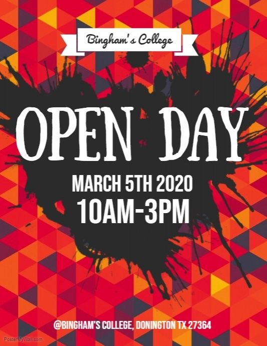 open day flyer postermywall pinterest opening day and poster