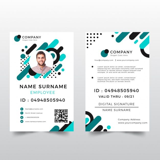 Id Card Template With Abstract Style Id Card Template Name Card Design Employee Id Card