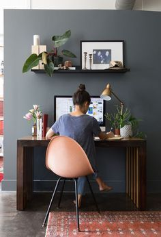 Love this office space, especially that wall color.