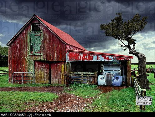 Looks like bad weather ... I love the barn, however, if that was a tornado I think I'd find somewhere else for shelter!  ;√)