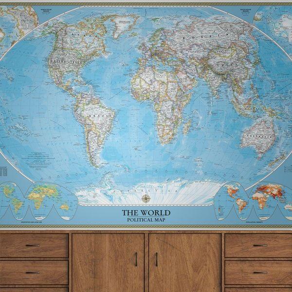 Mappa del mondo sferico per decorare una parete #mappa #politica #adesivi #murali #vinile #deco #decorazione #muro #StickersMurali