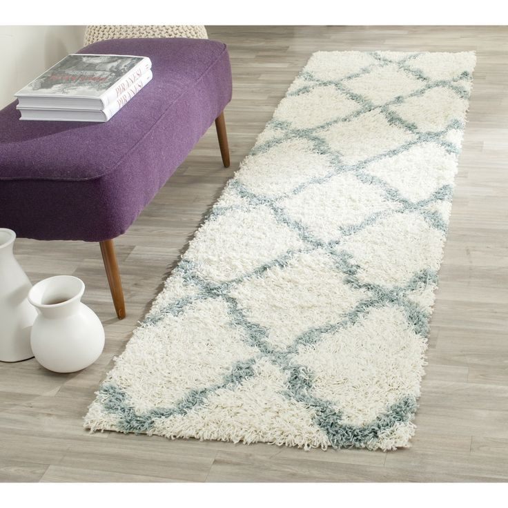 safavieh dallas shag ivory light blue rug 2u00273 x 8u0027