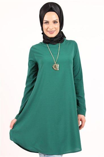 Beyhan Kolyeli Tunik Yeşil 1001