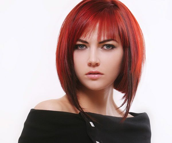 Hair Styles For Short Red Hair: Long Inverted Bob With Bangs