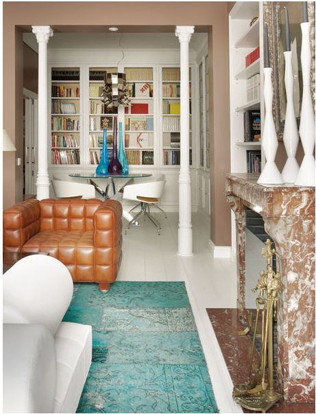 global glam, living room, leather chairs, Elle Decor Spain