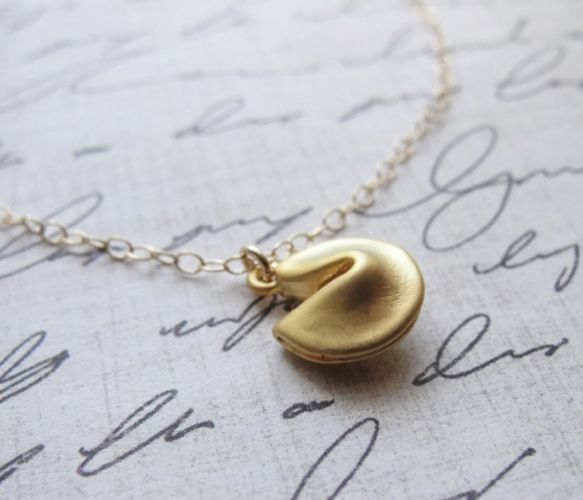 Gold Fortune Cookie Necklace