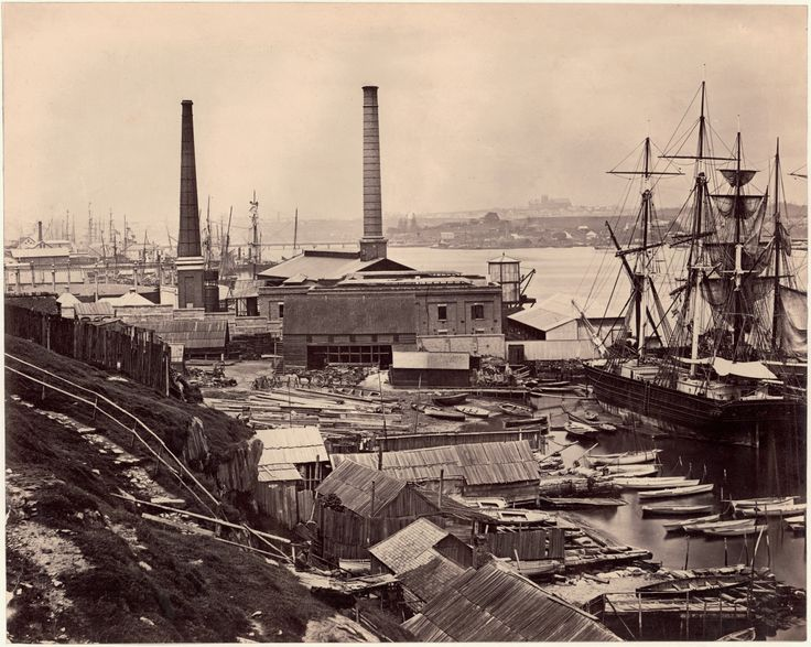 Harold Cazneaux - Darling Harbour Wharves and The Gasworks, 1870.