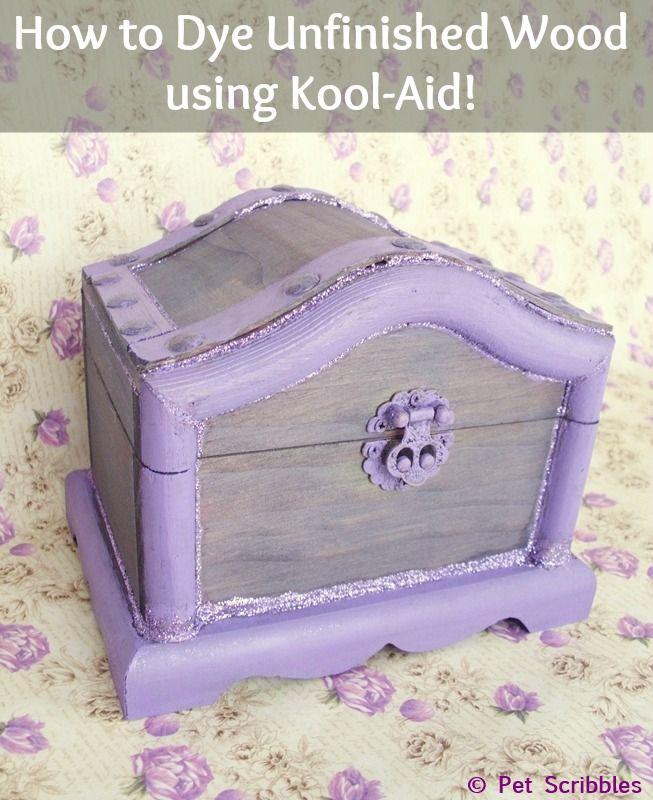How to Dye Unfinished Wood using Kool-Aid!Kooloff Shops, Kool Aid, Die ...