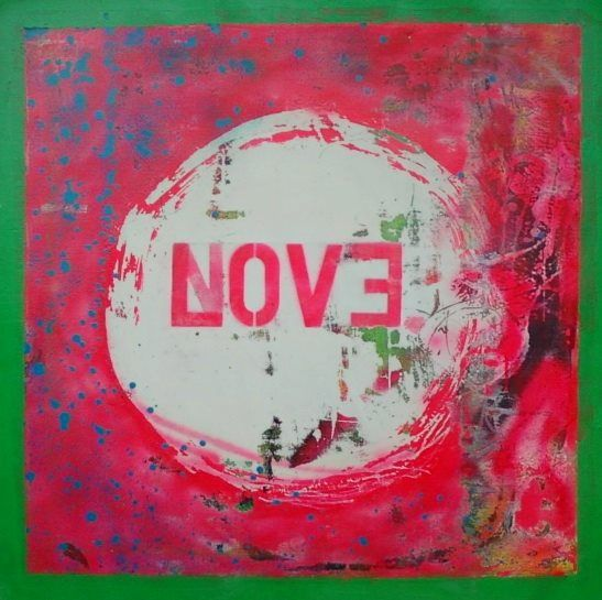 "no love ( backwards evolution)  2013 spray on canvas 30"" x 30"""