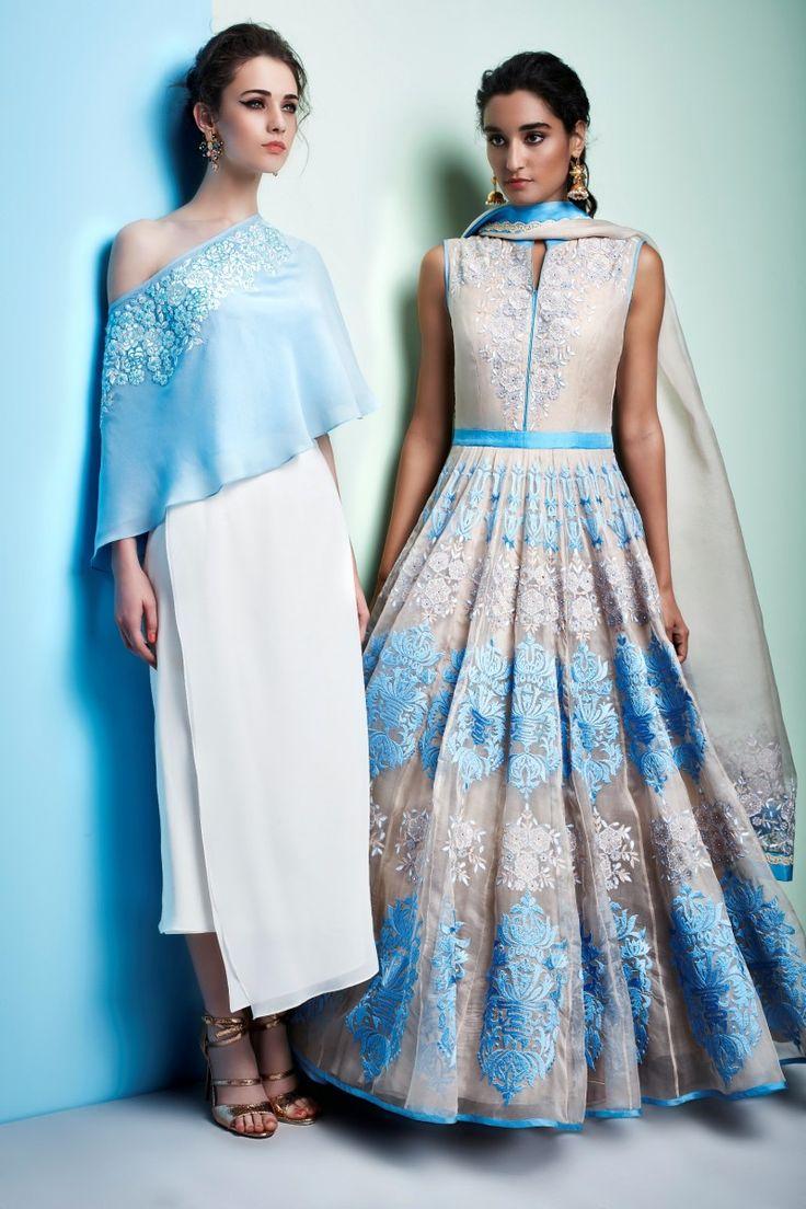 Off shoulder top with pencil skirt (L) Satin stitched emb anarkali (R)