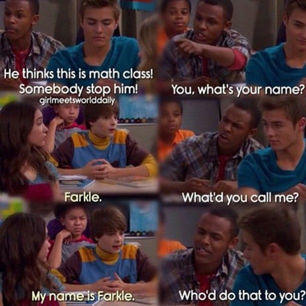 Haha!!! one of my favorite girl meets world scenes lol #farkle #lucas #girlmeetsworld