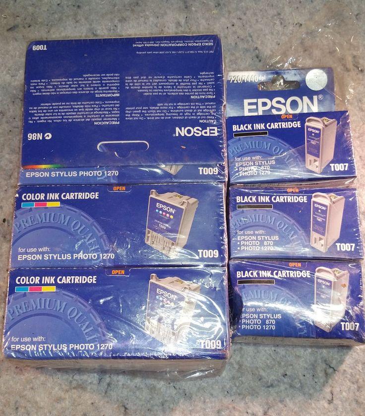 lot of 7 epson ink cartridges 4X T009 5 color & 3X T007 black #Epson