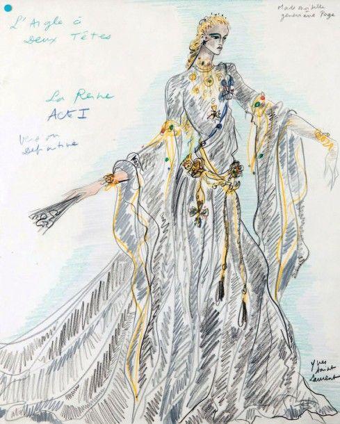 Yves SAINT LAURENT (1936-2008) Croquis de théâtre, projet de robe pour Geneviève Page dans le rôle de la reine dans « L'aigle à deux têtes » Mine de plomb et crayon de couleur signé en bas à droite titré… - L' Huillier & Associés - 16/10/2015