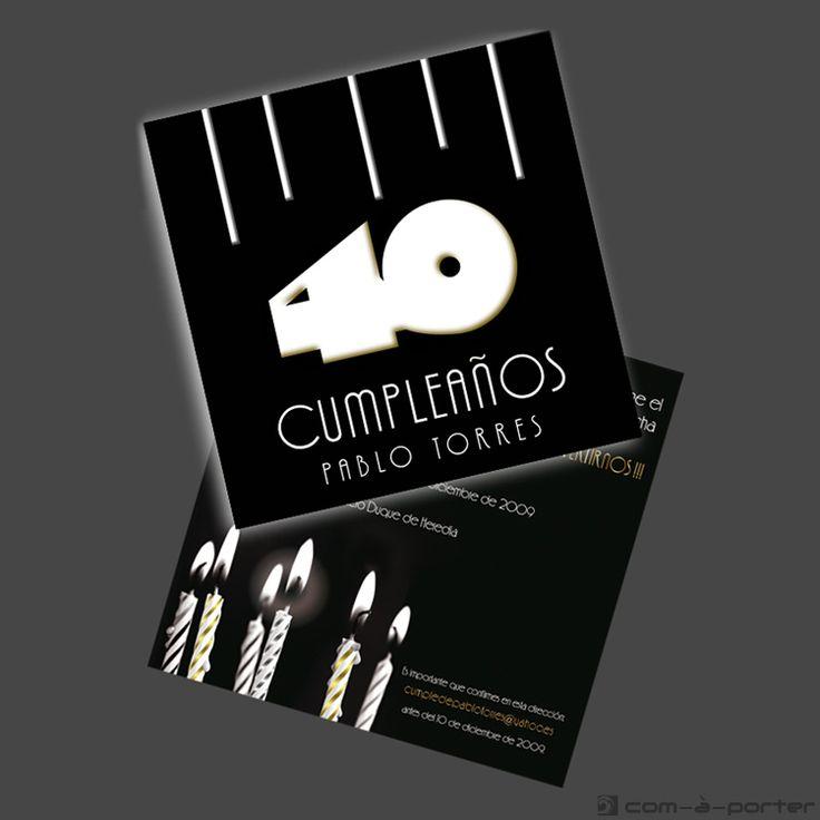 Diseño de Invitación para 40º Cumpleaños de Pablo Torres