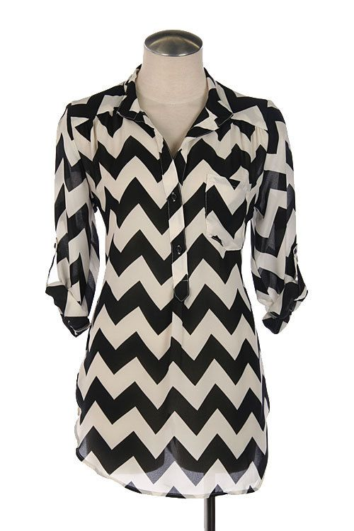 Women's Black and White CHEVRON top- SUMMER must have fashion on Etsy, $30.00