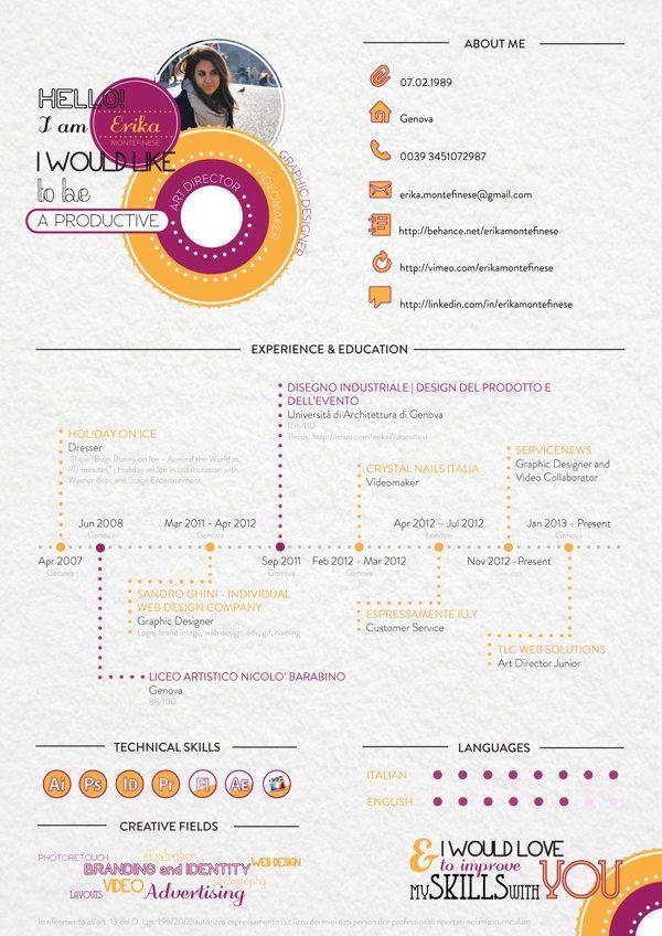 Graphic Curriculum Vitae by Erika Montefinese, via Behance