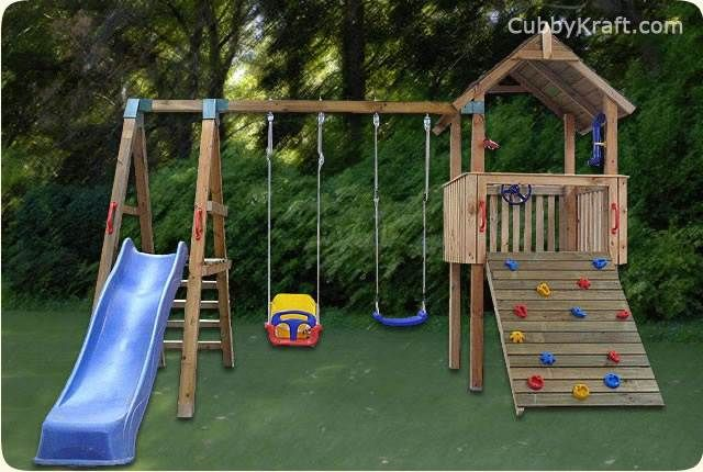 The Lion Cub Cubby Fort will ensure your kids have loads of fun and exercise at the same time, giving them hours of entertainment. It includes a #slide #swings, #rockclimbingwall and a #fort AUS$1997 www.cubbykraft.com