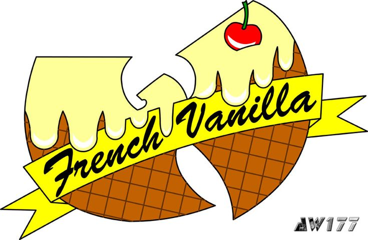 """French Vanilla"" - a redesign of the infamous ice cream logo from the song, ""Ice Cream"" for hip-hop star, Ghostface Killah.   It was a great honor and pleasure for me when I was asked to redesign the ice cream logos for Ghostface Killah, a member of the Wu. If you have not heard the song before, go to YouTube and search ""Wu-Tang Ice Cream"".  The logos are printed onto t-shirts for women and sold on GFK's official merchandise store."